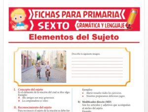 Ficha de Elementos del Sujeto para Sexto Grado de Primaria