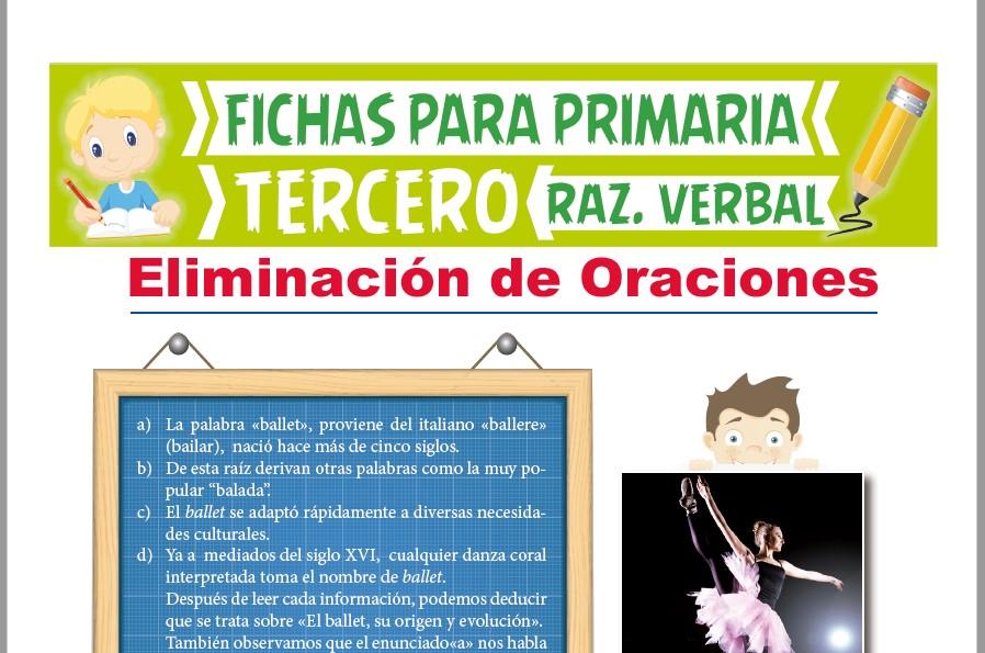 Ficha de Eliminación de Oraciones para Tercer Grado de Primaria