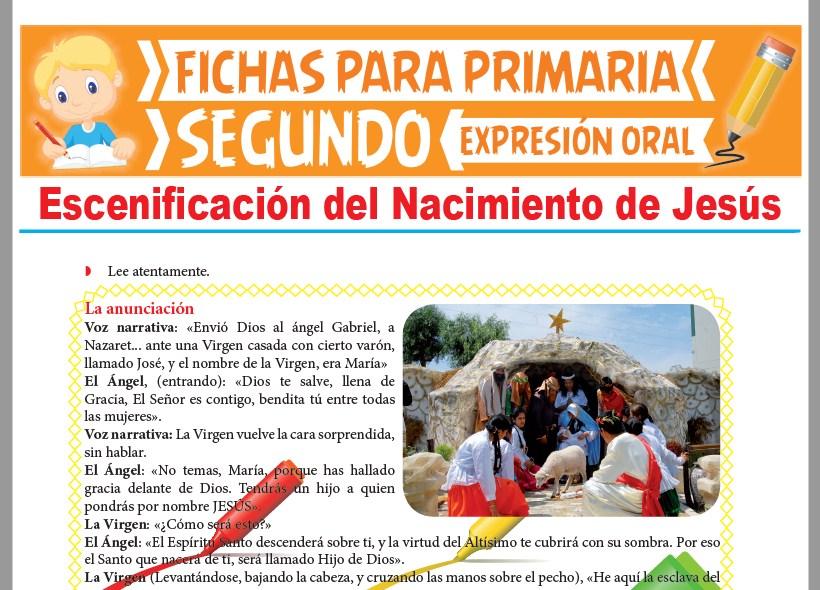 Ficha de Escenificación del Nacimiento de Jesús para Segundo Grado de Primaria