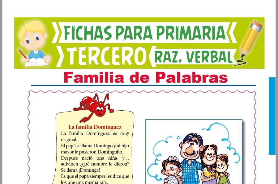 Ficha de Familia de Palabras Ejercicios para Tercer Grado de Primaria