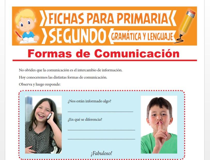 Ficha de Formas de Comunicación para Segundo Grado de Primaria