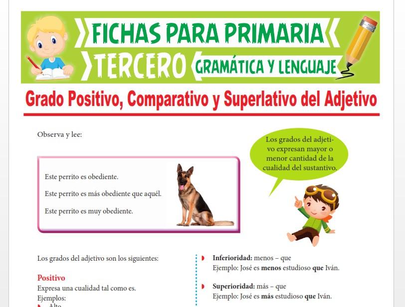 Ficha de Grado Positivo, Comparativo y Superlativo del Adjetivo para Tercer Grado de Primaria