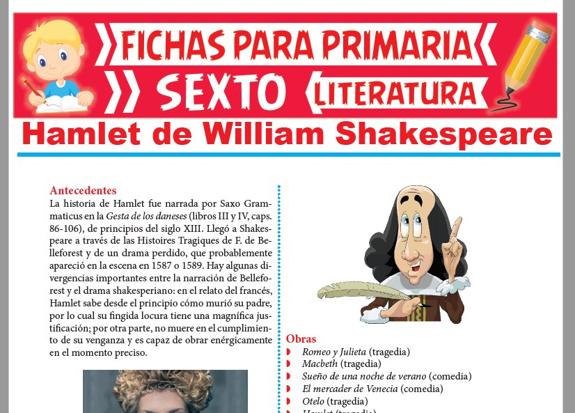 Ficha de Hamlet de William Shakespeare para Sexto Grado de Primaria