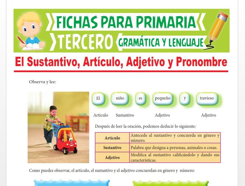 Ficha de Identificando el Sustantivo, Artículo, Adjetivo y Pronombre para Tercer Grado de Primaria