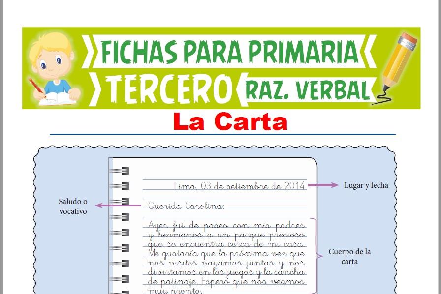 Ficha de La Carta para Tercer Grado de Primaria