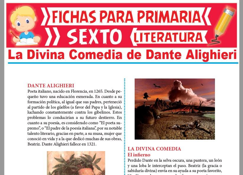 Ficha de La Divina Comedia de Dante Alighieri para Sexto Grado de Primar