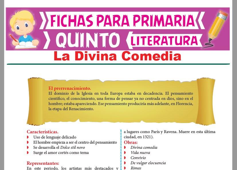 Ficha de La Divina Comedia para Quinto Grado de Primaria