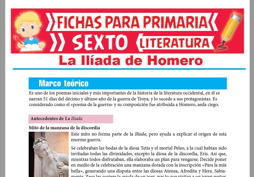Ficha de La Ilíada de Homero para Sexto Grado de Primaria