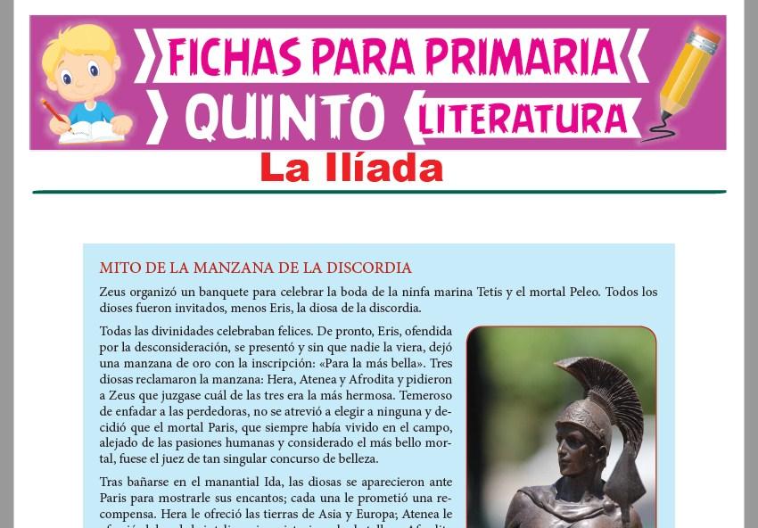 Ficha de La Ilíada para Quinto Grado de Primaria