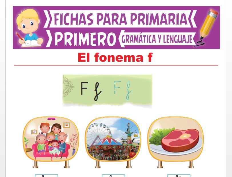 Ficha de La Letra F para Primer Grado de Primaria