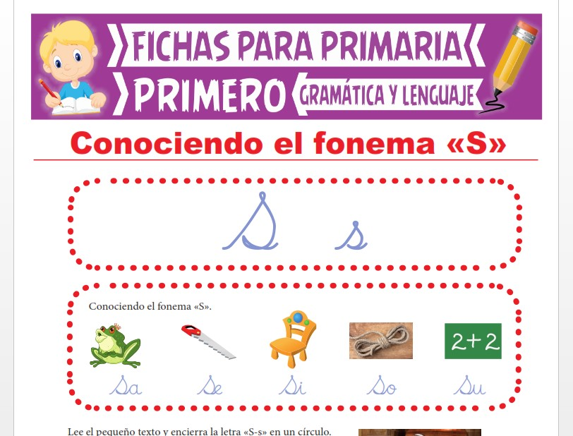 Ficha de La Letra S para Primer Grado de Primaria