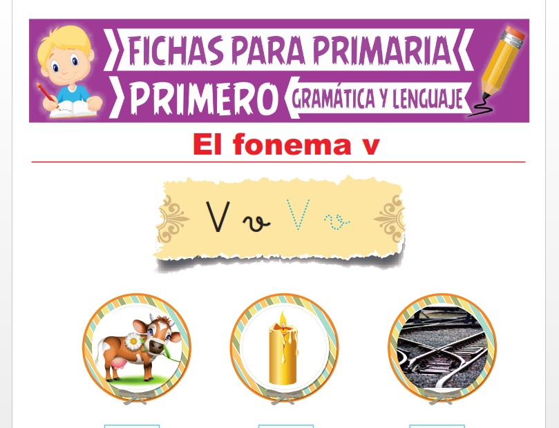 Ficha de La Letra V para Primer Grado de Primaria