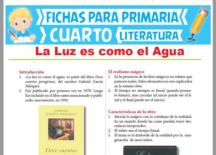 Ficha de La Luz es como el Agua para Cuarto Grado de Primaria