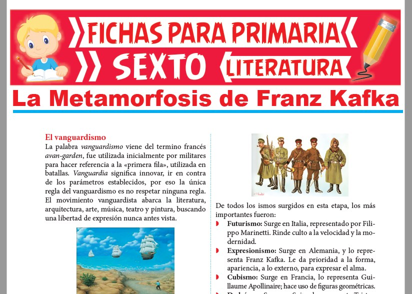 Ficha de La Metamorfosis de Franz Kafka para Sexto Grado de Primari