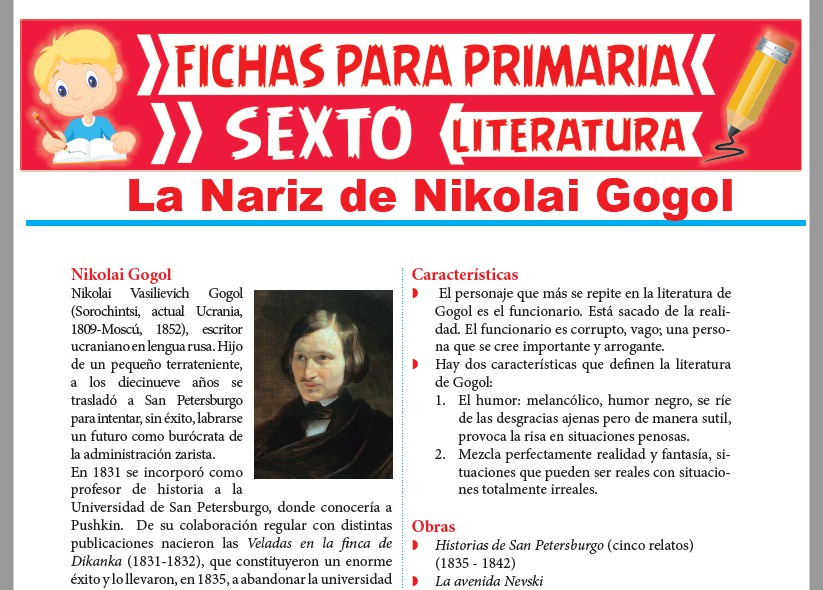 Ficha de La Nariz de Nikolai Gogol para Sexto Grado de Primaria