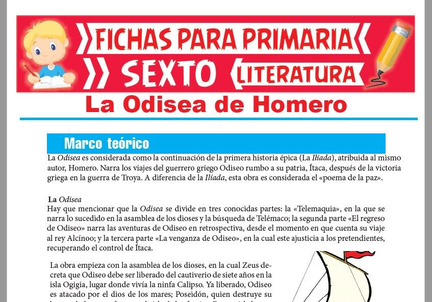 Ficha de La Odisea de Homero para Sexto Grado de Primaria