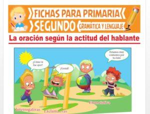 Ficha de La Oración según la Actitud del Hablante para Segundo Grado de Primaria