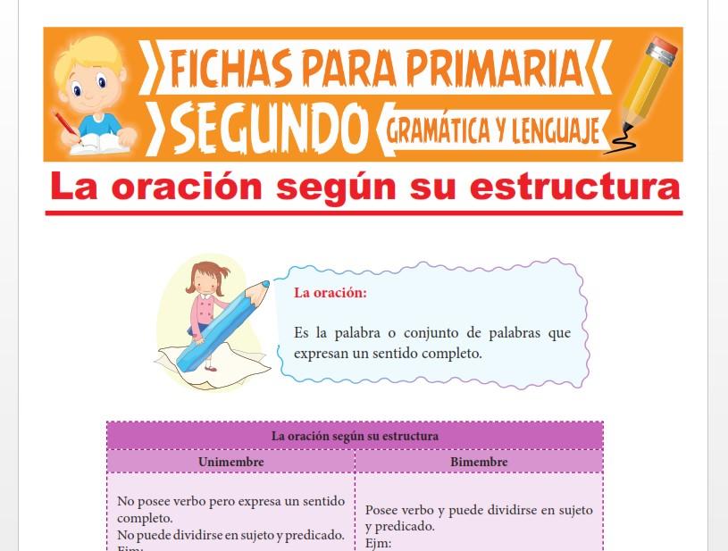 Ficha de La Oración según su Estructura para Segundo Grado de Primaria