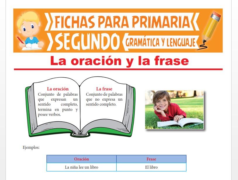 Ficha de La Oración y la Frase para Segundo Grado de Primaria