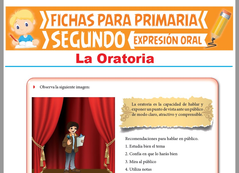 Ficha de La Oratoria para Segundo Grado de Primaria
