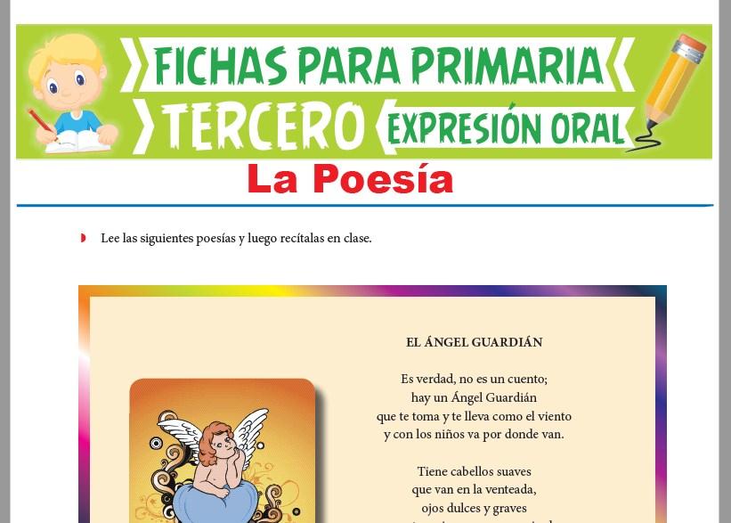 Ficha de La Poesía para Tercer Grado de Primaria