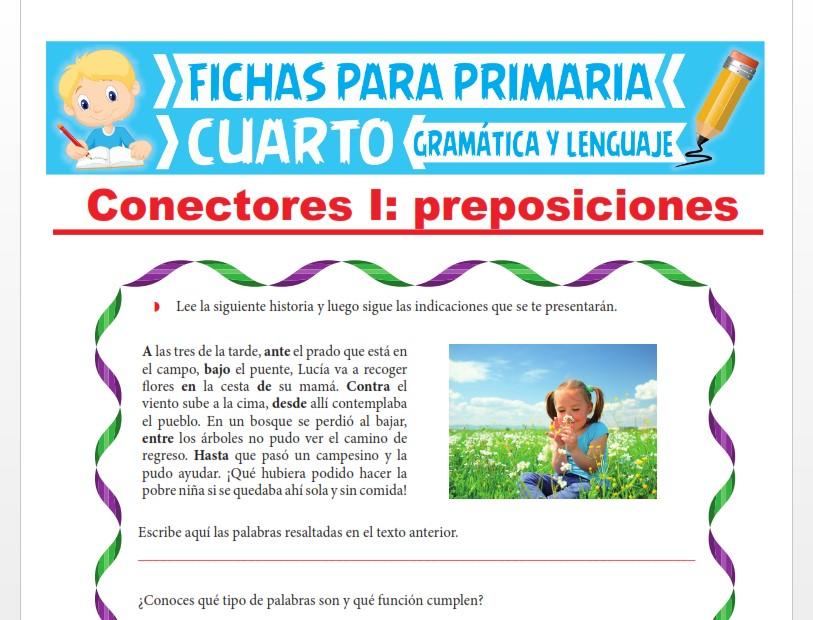 Ficha de ¿Qué es la Preposición? para Cuarto Grado de Primaria