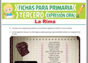 Ficha de La Rima para Tercer Grado de Primaria