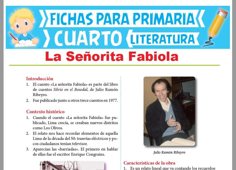 Ficha de La Señorita Fabiola para Cuarto Grado de Primaria