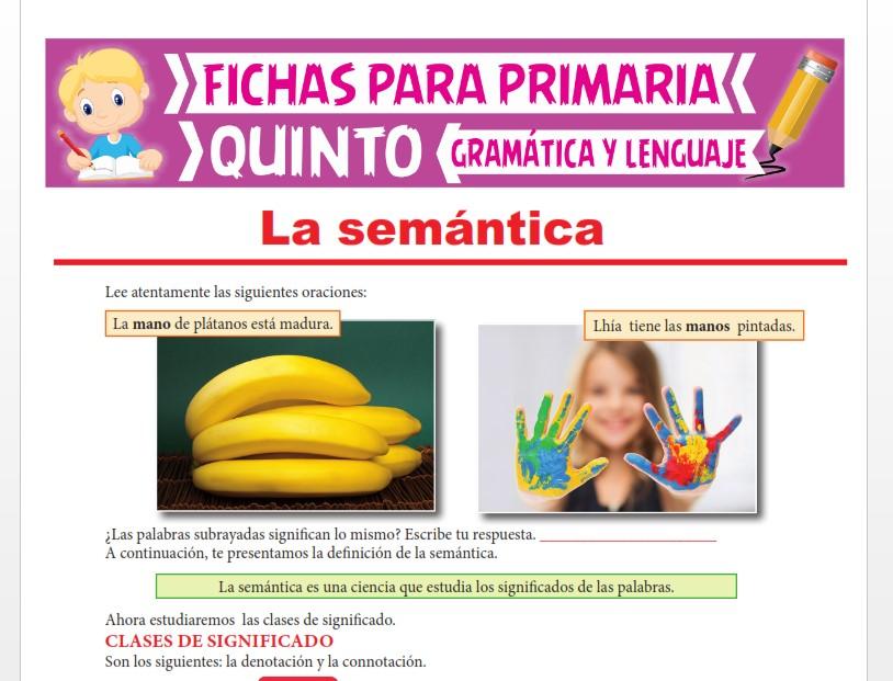 Ficha de La Semántica para Quinto Grado de Primaria