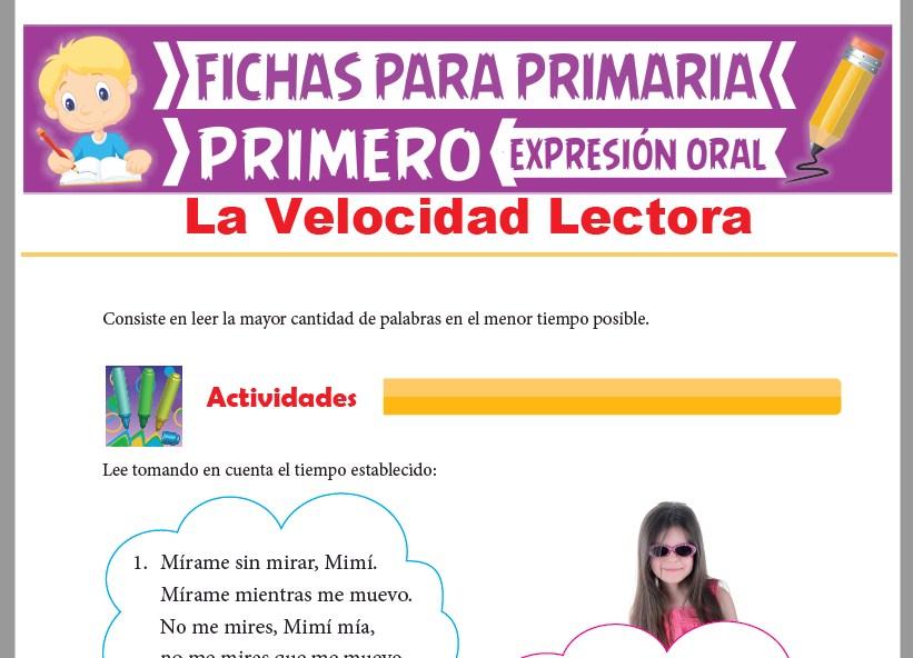 Ficha de La Velocidad Lectora para Primer Grado de Primaria