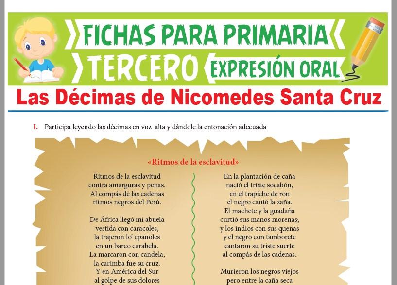 Ficha de Las Décimas de Nicomedes Santa Cruz para Tercer Grado de Primaria