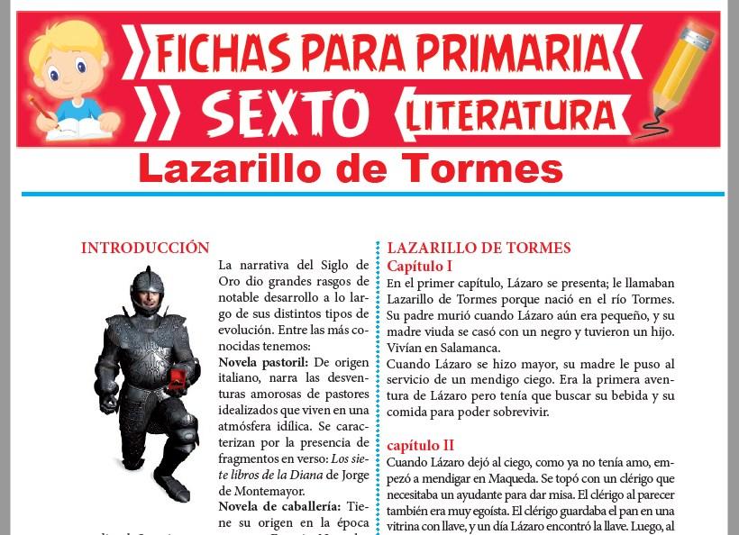 Ficha de Lazarillo de Tormes para Sexto Grado de Primaria