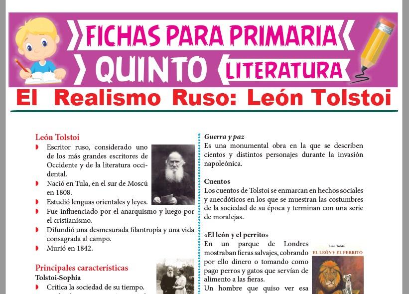 Ficha de León Tolstoi para Quinto Grado de Primaria