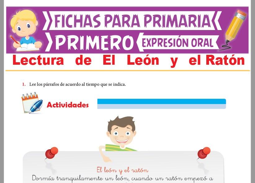 Ficha de Lectura de El León y el Ratón para Primer Grado de Primaria