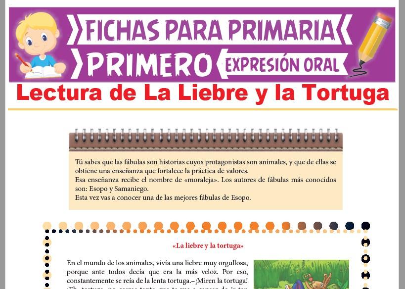 Ficha de Lectura de La Liebre y la Tortuga para Primer Grado de Primaria