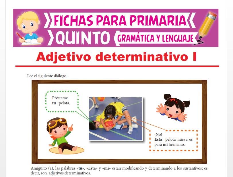 Ficha de Los Adjetivos Determinativos para Quinto Grado de Primaria