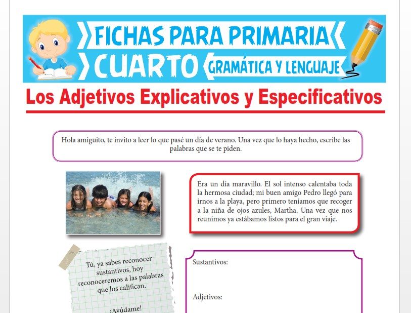 Ficha de Los Adjetivos Explicativos y Especificativos para Cuarto Grado de Primaria