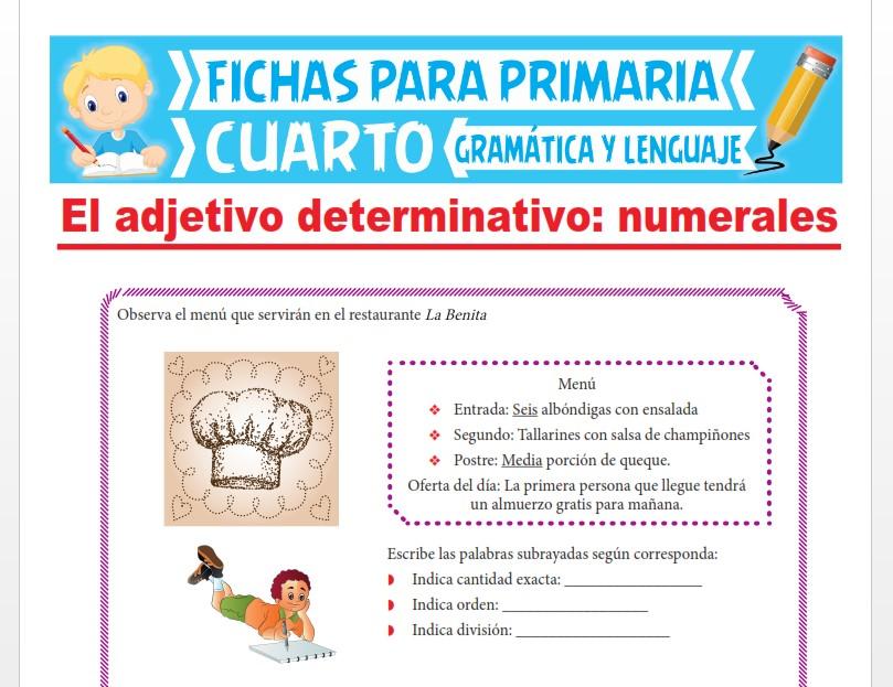 Ficha de Los Adjetivos Numerales para Cuarto Grado de Primaria