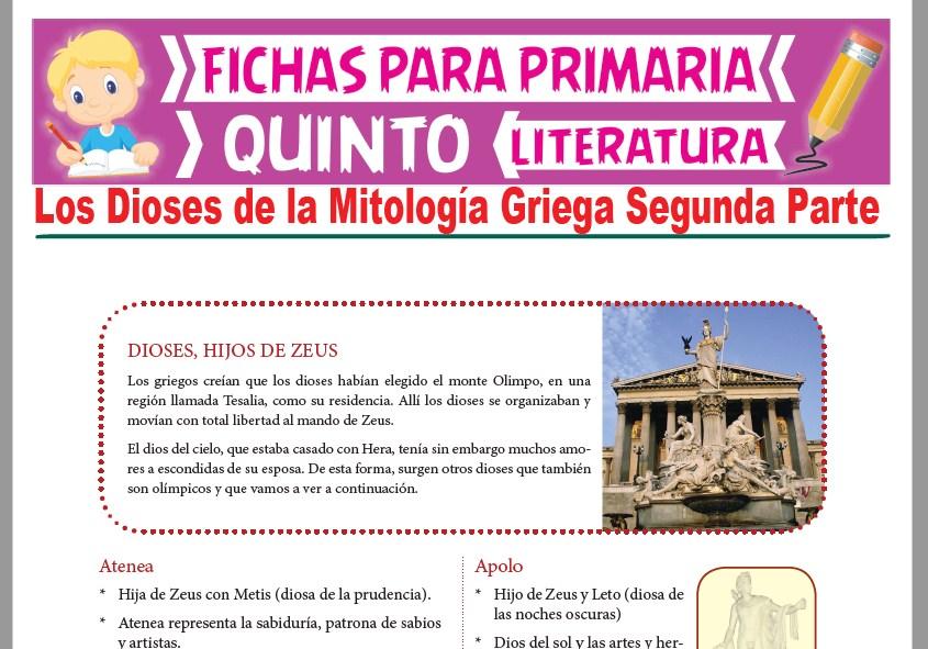 Ficha de Los Dioses de la Mitología Griega Segunda Parte para Quinto Grado de Primaria