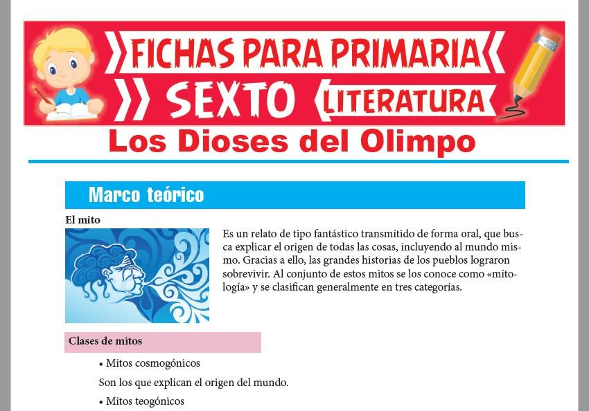 Ficha de Los Dioses del Olimpo para Sexto Grado de Primaria