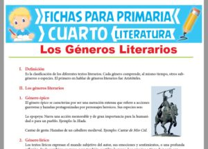 icha de Los Géneros Literarios para Cuarto Grado de Primaria