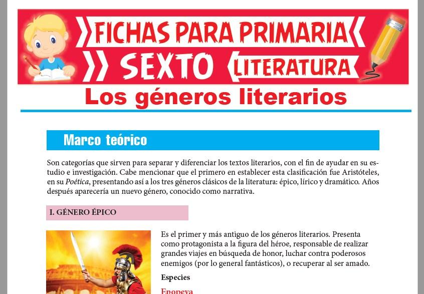 Ficha de Los Géneros de la Literatura para Sexto Grado de Primaria