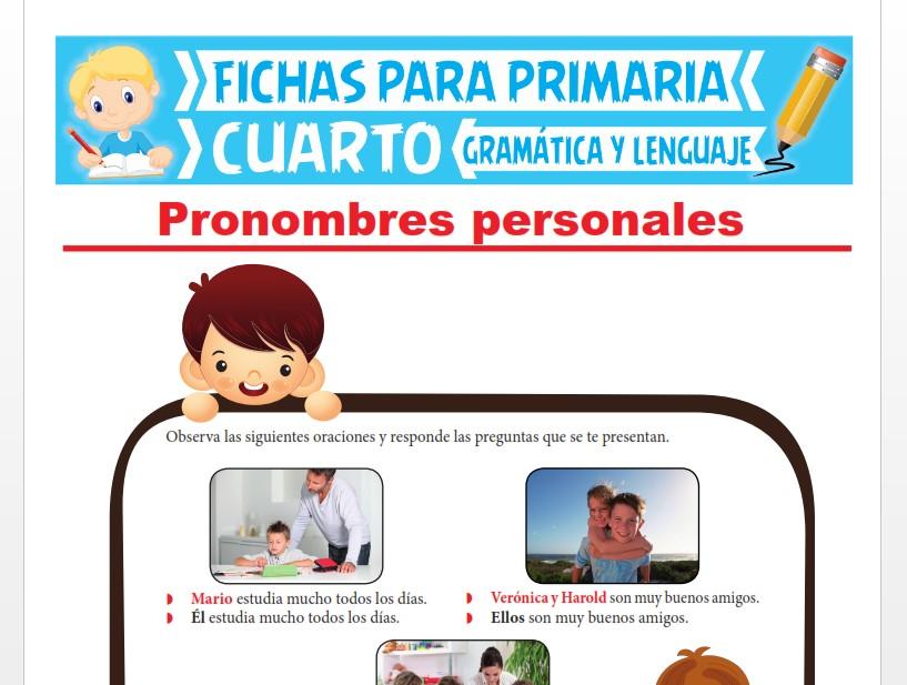 Ficha de Los Pronombres Personales para Cuarto Grado de Primaria