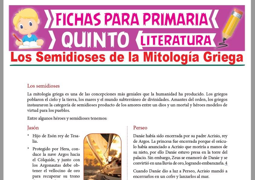 Ficha de Los Semidioses de la Mitología Griega para Quinto Grado de Primaria