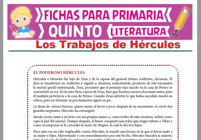 Ficha de Los Trabajos de Hércules para Quinto Grado de Primaria