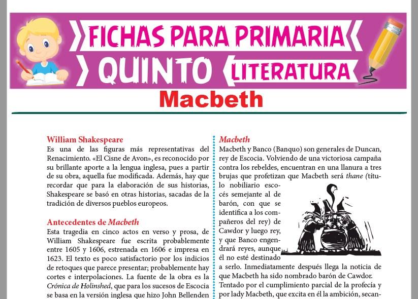 Ficha de Macbeth para Quinto Grado de Primaria