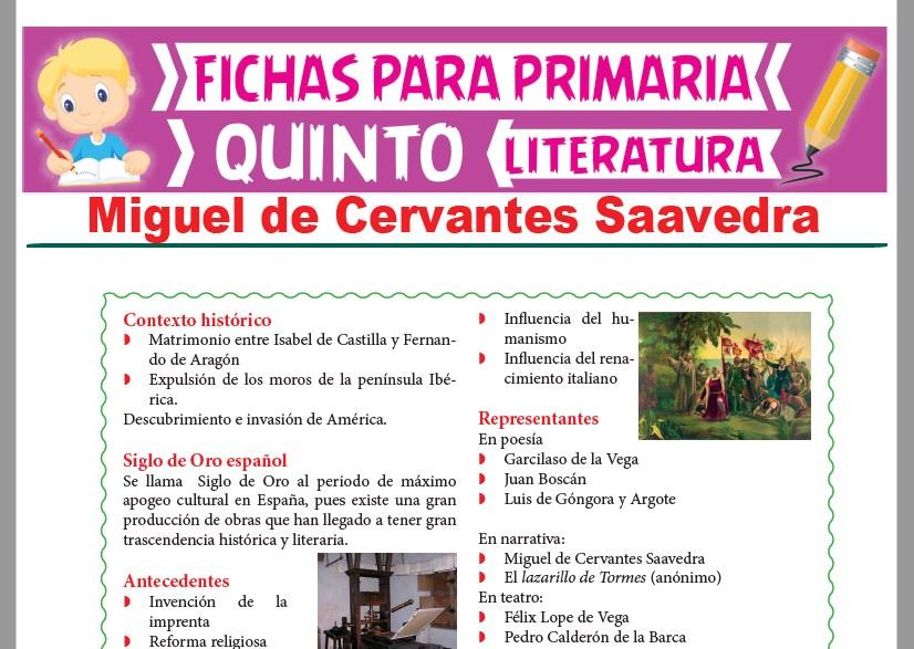 Ficha de Miguel de Cervantes Saavedra para Quinto Grado de Primaria