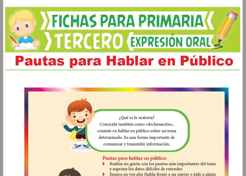 Ficha de Pautas para Hablar en Público para Tercer Grado de Primaria