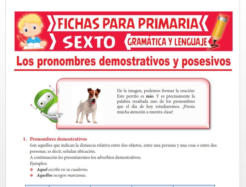 Ficha de Pronombre Demostrativo y Posesivo para Sexto Grado de Primaria