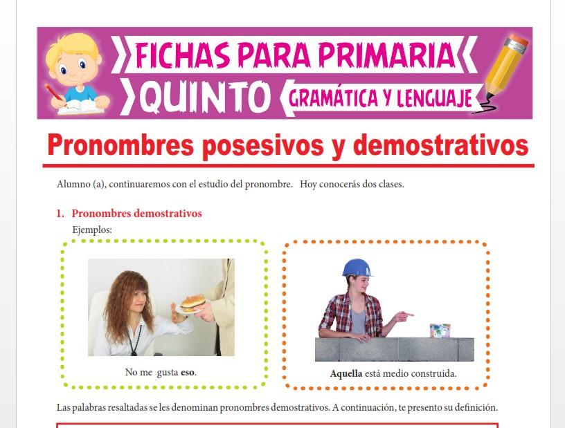 Ficha de Pronombres Posesivos y Demostrativos para Quinto Grado de Primaria